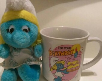 Smurf Smurfette Birthday Mug and Plush Toy