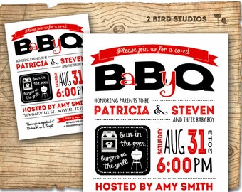 Baby Q invitation - BBQ baby shower - Coed baby shower - BBQ couples shower - DIY Printable bbq invitation