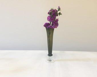 Vintage glass vase, green glass vase, vintage vase, vintage glassware, glass bud vase, mid century vase, flower vase, vintage green vase