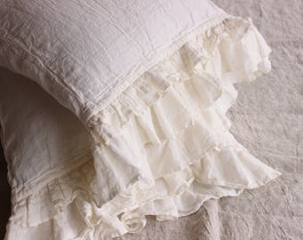 Linen Ruffled Pillow Sham Stone Washed Softened Frill Pillow Case Organic Soft Natural linen Standard Queen EUR King Pillow Sham with Ruffle