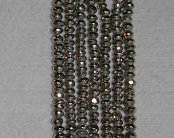 Pyrite, Pyrite Rondelle, Faceted Pyrite, Faceted Rondelle, Silver Pyrite, Natural Stone, Sparkle Stone, Full Strand, 6-7mm, AdrianasBeads