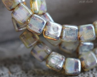 CASHMERE TILES .. 25 Picasso Glass Czech Tile Beads 6mm (3785-st)