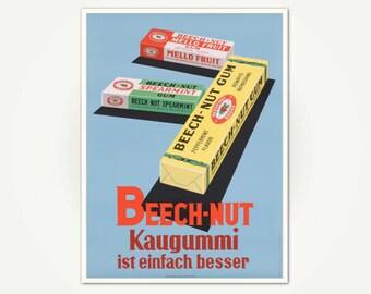 Beech-nut advertising Poster Print - Beech-nut Kaugummi ist einfach besser Swiss Poster Art