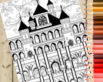 CASTLE Adult Coloring Page – Castle Printable Coloring Page Fantasy Coloring Page Adult Coloring Book Page Adult Coloring Page Gift DOWNLOAD