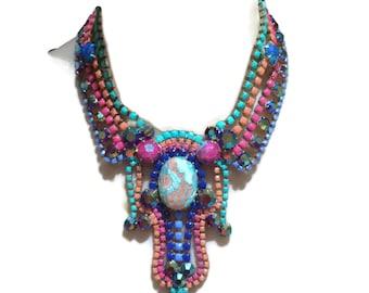 BLOOMING pink, turquoise, orange, blue and pink painted rhinestone bib necklace