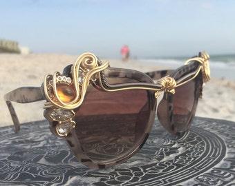 New Style / Animal Print RHiNeSToNe Retro Vintage Sunglasses / Artisan Wire Wrap Glasses / Urban Bohemian Chic Sun Glasses Eyewear Glasses