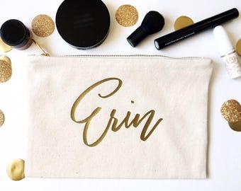 Bridesmaid Cosmetic Bag - Gold Foil Makeup Bag - Custom Name Bag - Bridal Party Makeup Bag - Custom Canvas Bag - Bridal Party Gift