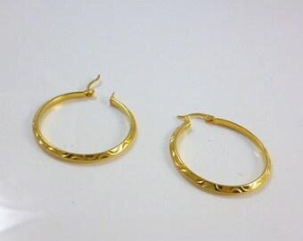 Gold Hoop Earrings, Large Hoops, Large Hoop Earrings, Gold Plated Hoops, Vintage NEW
