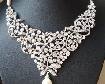 Statement Bridal Necklace, Crystal Bib Wedding Necklace, Flowers or Dragonflies, Art Deco Wedding Jewelry, Crystal Bridal Jewelry