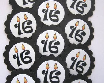 16th Birthday Candle Cupcake Toppers/Party Picks Item #1714