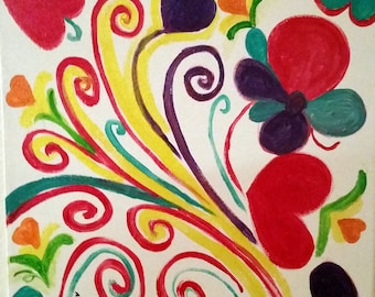 "Hearts and Swirls Delight Abstract Painting Acrylics Original Handmade 12x12"" Canvas Board"