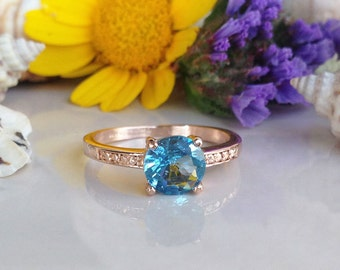 20% off-SALE!! Blue Topaz Ring - December Birthstone - Prong Ring - Topaz Jewelry - Gold Ring - Dainty Ring - Tiny Ring - Stack Ring
