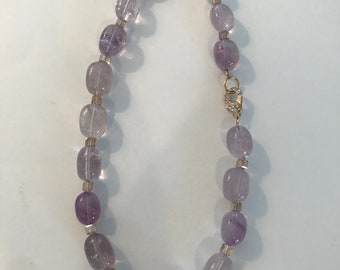 Amethyst Gemstone and Citrine Swarovski Crystal Necklace with Gold Pave Clasp
