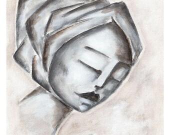 Rustic Art Print// Prints for Women// Whimsical Art Print// Decorative Art Print// Wall Art// Girl with Closed Eyes// Shabby Chic Decor