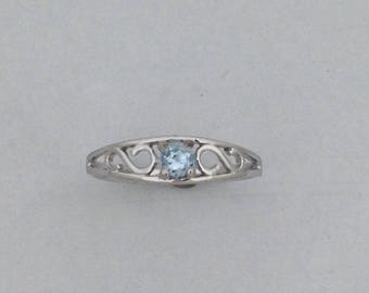 Baby Ring with Natural Aquamarine Solid 10kt White Gold
