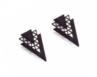 Triangle Stud Earrings, 1 Pair Black Geometric Earrings, Gunmetal Post Earrings, Black Plated Jewelry Findings, Wholesale Jewelry Supplies