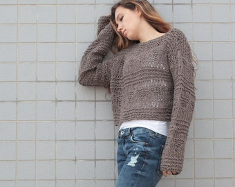 Hand knit sweater wool woman sweater cropped sweater Barley pullover sweater