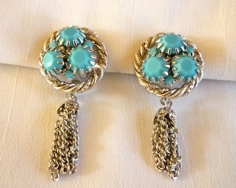 Vintage Turquoise Milk Glass Faceted Stone Earrings
