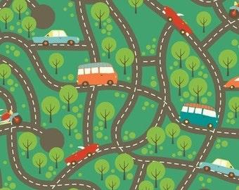 Wheels Brown Map by My Mind's Eye for Riley Blake Fabric 1 yard