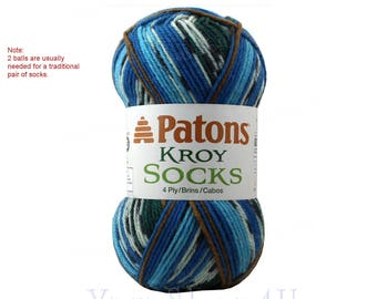 ROUTE 66 Jacquard. Patons Sock yarn is a washable wool blend, super fine, Self-Striping Blueish Sock Yarn. Get 2 Balls to make a Pair! >