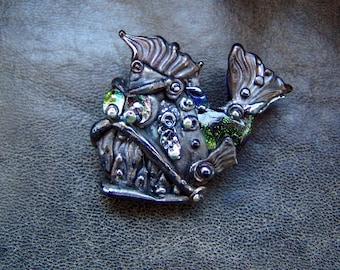 "Steampunk Glass Brooch ""Funny Fish"". Lampwork."