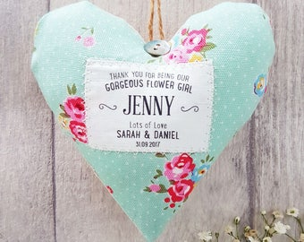 Personalised Flower Girl Gift. Choice of fabric. Gift Boxed. Wedding party thank you.