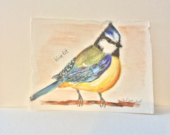 Watercolor Painting- Blue Tit-  Original 4x6 inch Painting