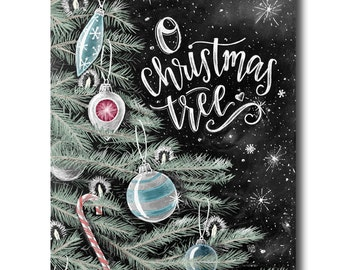 O Christmas Tree, Christmas Art, Ornaments, Chalkboard Art, Chalk Art, Holiday Sign, Christmas Sign, Holiday Tree, Holiday Decor