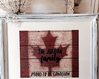 Proud to be Canadian Personalized Family Wall Art.