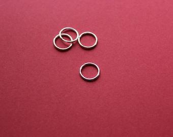 10 rings 10 mm shiny silver open