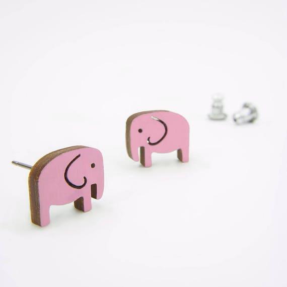Pink Elephant Stud Earrings