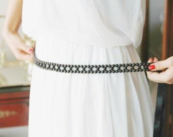 Black Sash Belt Skinny Sash Belt Bridal Sash Belt Beading Ribbon Belt - Wedding Sash Belt - Bridesmaid Flower Girl Sashes Belts
