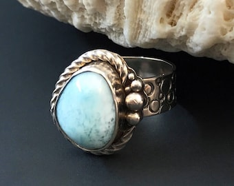 Larimar Ring in Sterling Silver, Artisan Ring Hand Stamped Wide Band Light Blue Stone, Water Lover Unique Design Pebbles Circles Pattern