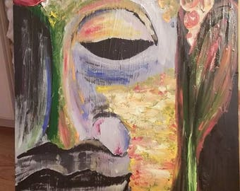 SOLD ~ Buddha ~ Abstract acrylic on canvas