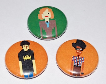 The IT Crowd Pixels Button Badge Set 25mm / 1 inch - Moss - Roy - Jen - Geek