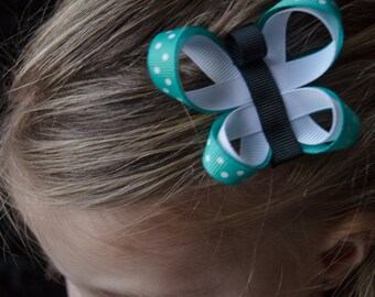 Hair Bow -Turquoise Butterfly Ribbon Sculpture