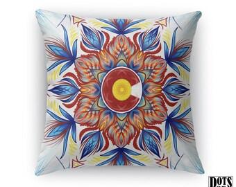 THROW PILLOW - Colorado Pillow watercolor Mandala throw pillow in Blue White Red indoor / outdoor Decorative Throw Pillow - Mandala Pillow