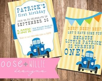 Little Blue Truck Birthday Invitations