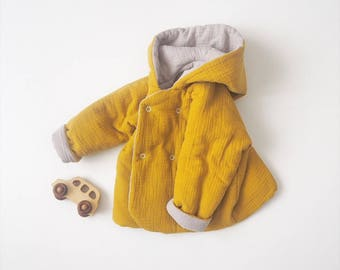 "Baby réversible ""Lutin"" jacket, SAFRAN, made in France, kimono sleeve, Double gauze"