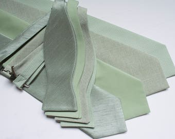 Bow ties for men,neckties for men sage green,sage green wedding bow ties and neckties