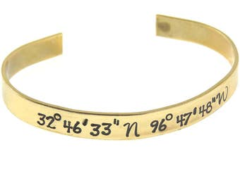 Custom Cuff Map Coordinates Latitude Longitude Engraved Cuff - Personalized Hand Stamped - Wedding, Couples Perfect for Gifts