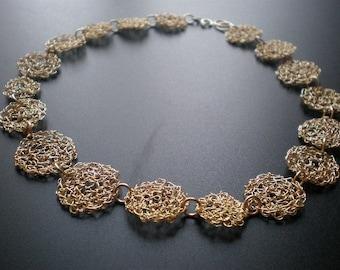 14k gold filled crochet choker, statement crochet gold filled wire