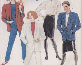 Jacket Pattern Loose Fitting Lined Shoulder Pads Skirt Pants Blouse Misses Size 16 Uncut McCalls 2698