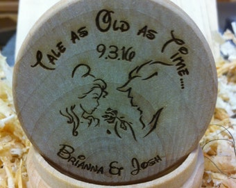Natural Finish Personalized Beauty and Beast Round Ring Bearer box