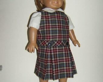 18 inch doll School Uniform Jumper plaid 43