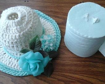 Crochet Toilet Paper Holder, Vintage Aqua Blue Toilet Paper in Matching Crocheted Hat with Aqua Plastic Rose