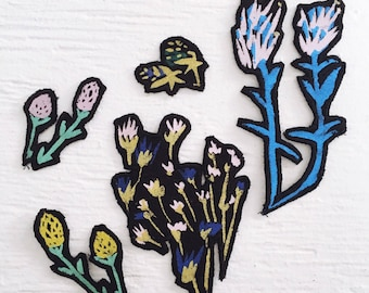Mixed Floral Patches - Patches - DIY Patches - Flower Patch - Floral Patches- thiefandbandit - stocking stuffer- thief and bandit