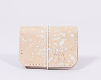 UNIQUE leather wallet Isaac in cream*dots*white