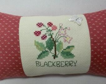 Blackberry Cross Stitch Mini Pillow, Berry, Summer Fruit, Produce