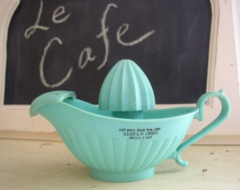 Vintage Aqua Turquoise Juicer Reamer Store Advertisement